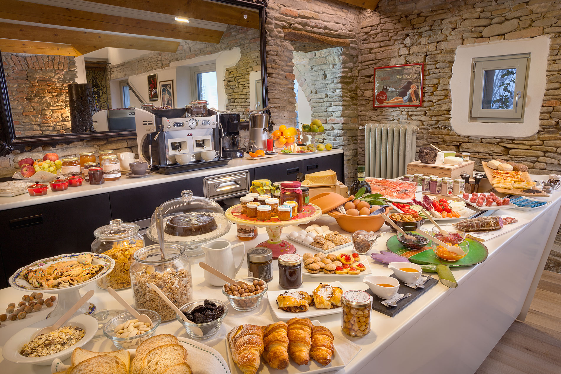 One section of the breakfast buffet that greets visitors in the morning.